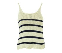 Bershka Women's Sleeveless Knit Stripe Top, Beige