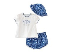 Absorba Little Girls' Pretty As a Flower Tee, Shorts & Hat Set, White/Blue