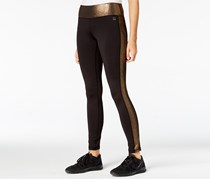 Material Girl Active Junior's Metallic Leggings, Black/Gold