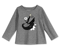 First Impressions Little Girls Badger-Print Cotton T-Shirt, Charcoal Heather