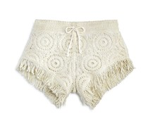 Vintage Havana Girls' Crochet Fringed Shorts, Offwhite
