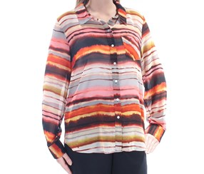 Tommy Hilfiger Women Striped Collared Button Up Top, Red