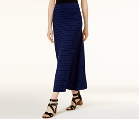 Kensie Striped Maxi Skirt, Blue/Black