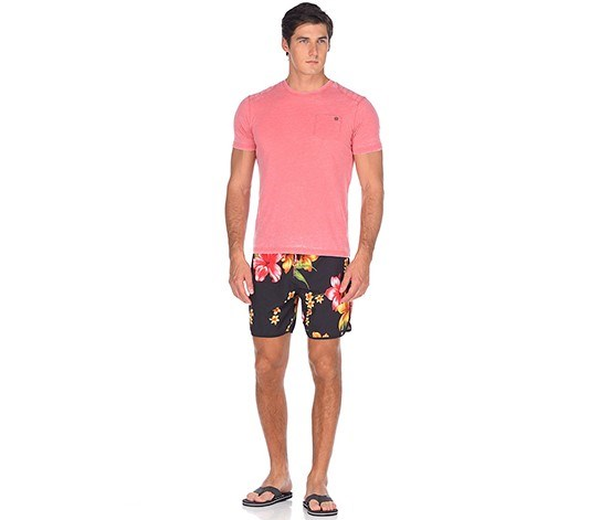 Men's Floral Boardshort, Black Combo