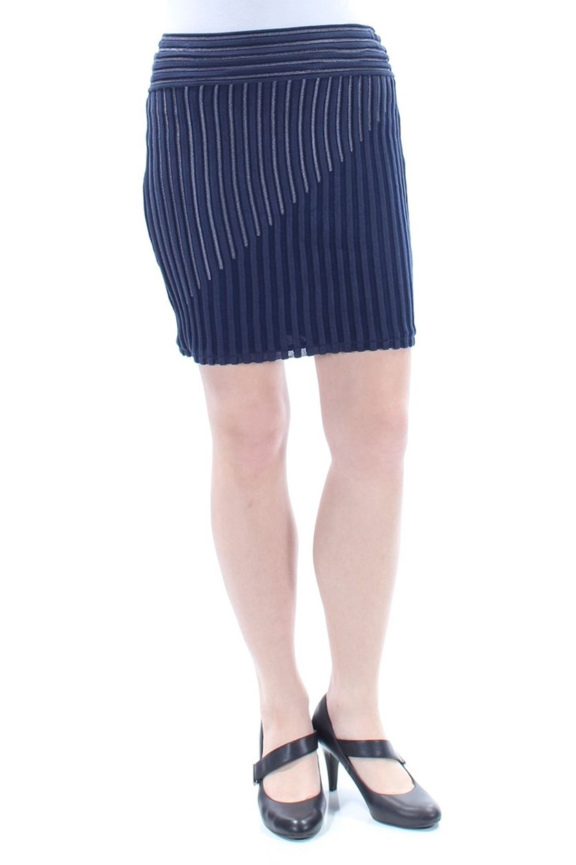 Women's Striped Above The Knee Pencil Skirt, Navy