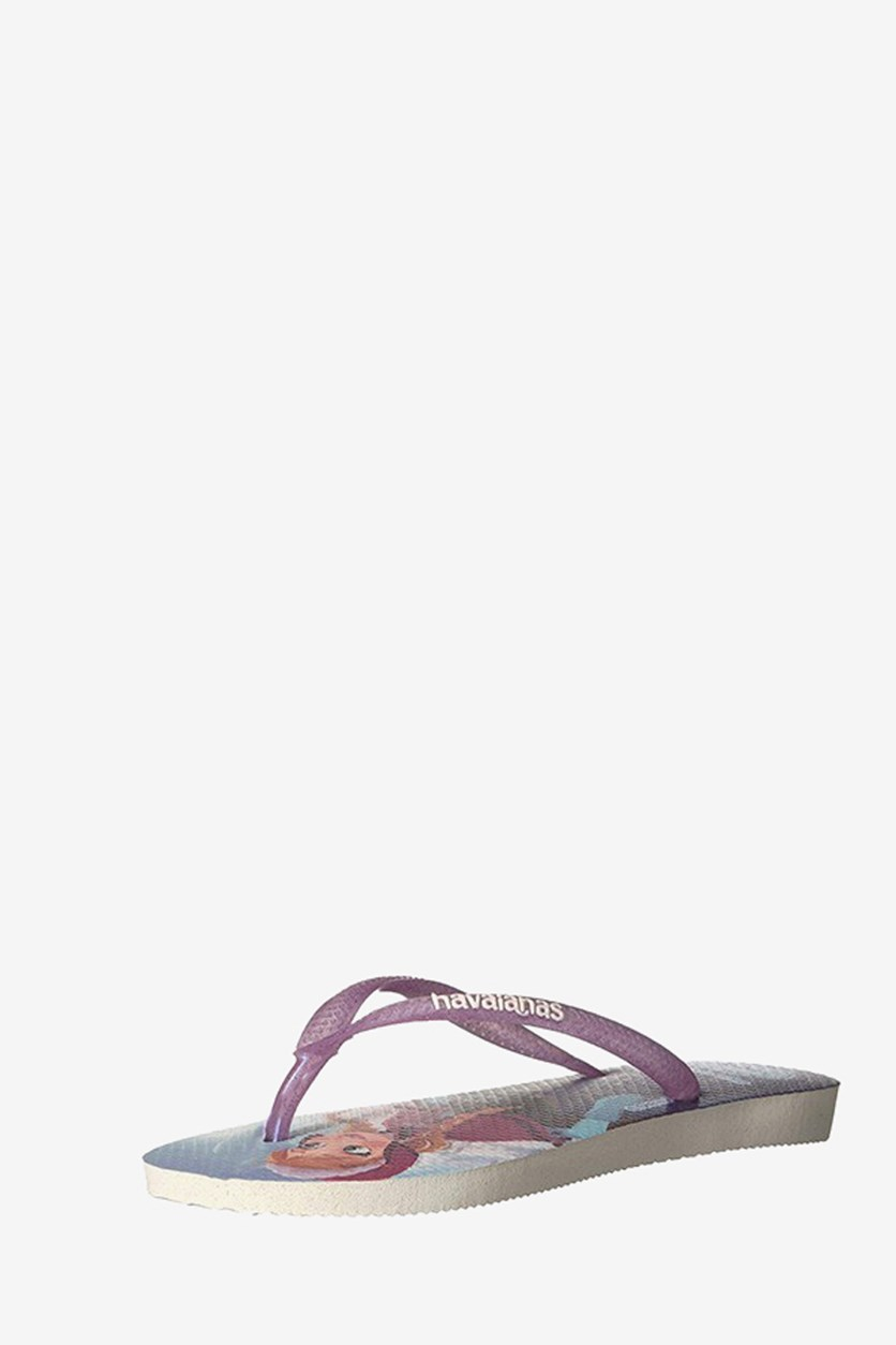 Girls' Slim Frozen Sandal Flip Flop, White/Purple