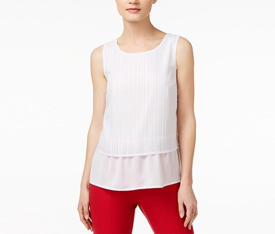Women Textured Contrast Top, White