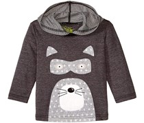 Kapital K Boy's Hooded Raccoon Applique Tee, Gray