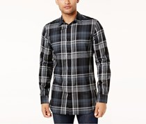 Calvin Klein Jeans Men's Highland Plaid Shirt, Black