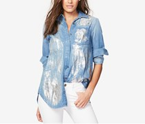 Split-Back Metallic-Detail Shirt, Bluejay Wash