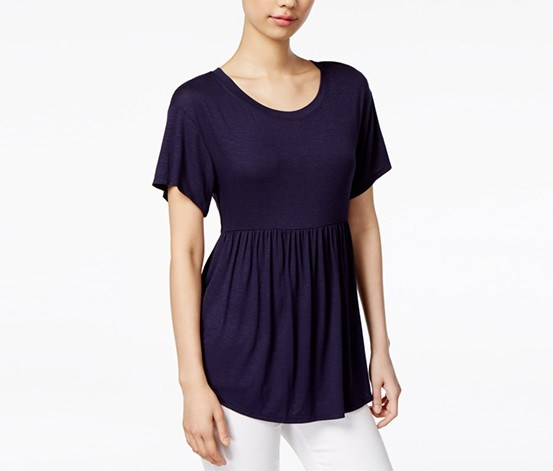 Women Peplum Top, Navy