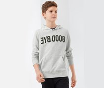 Boy's Hooded Sweatshirt, Grey/Olive