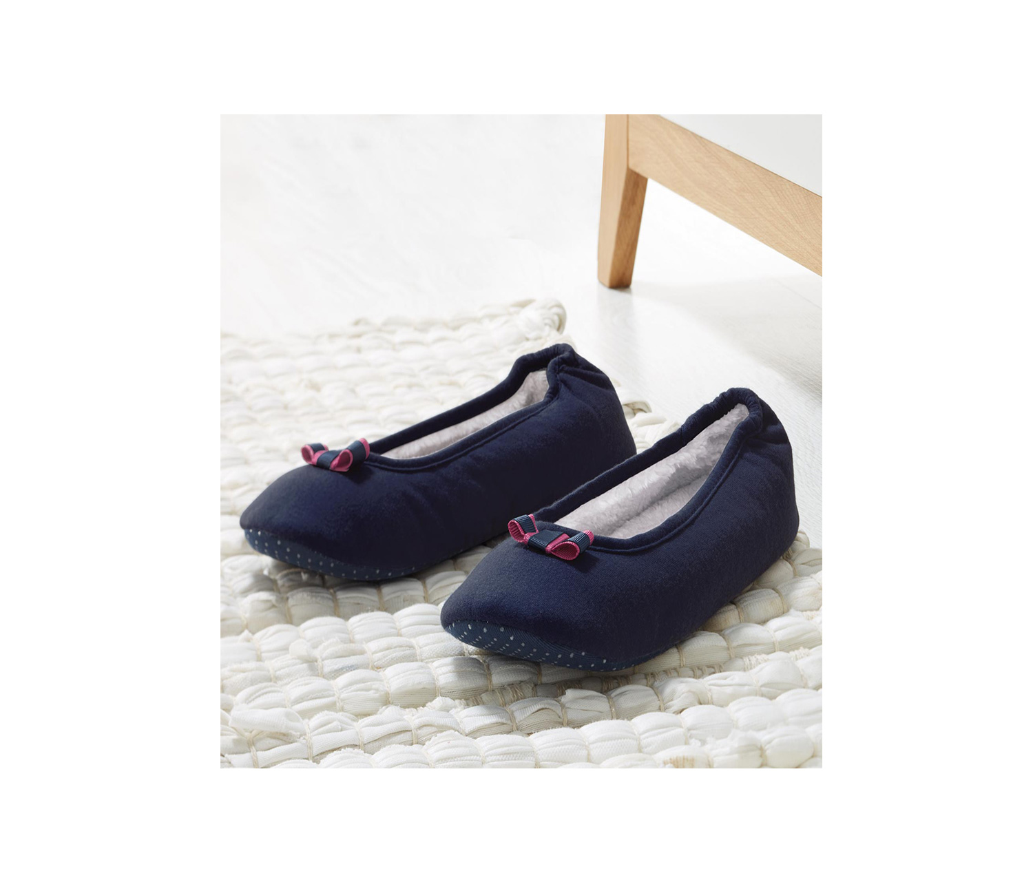 Women's Ballerina Slippers, Navy Blue