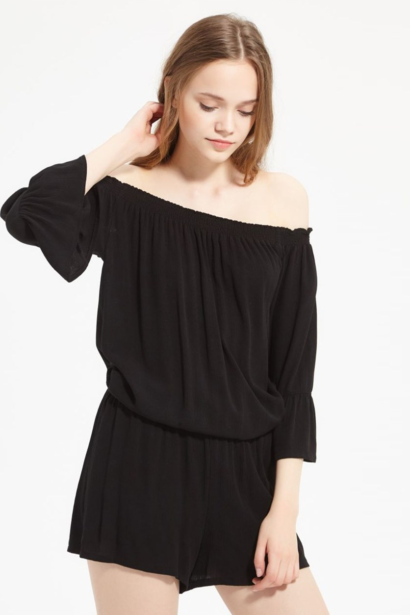 Women's Off Shoulder Romper, Black