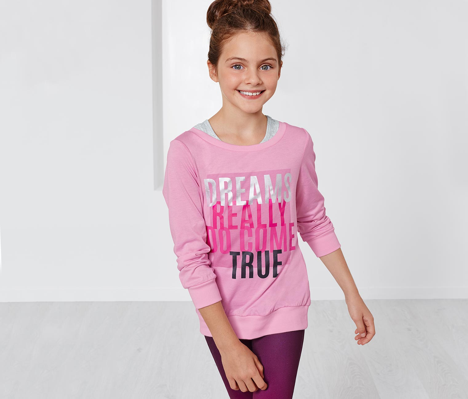 Girl's Sports Top With Tank Top, Pink/Gray