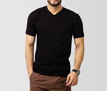 Tahari Men's 3 Pack V-Neck T-Shirt, Black
