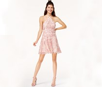 Speechless Juniors Embroidered Fit Flare, Pink