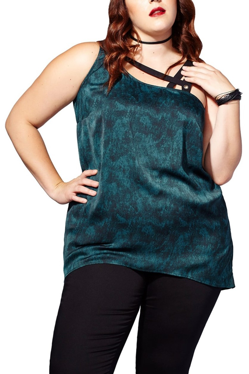 Mblm by Tess Holliday Trendy Plus Size Strappy Asymmetrical Top, Deep Teal