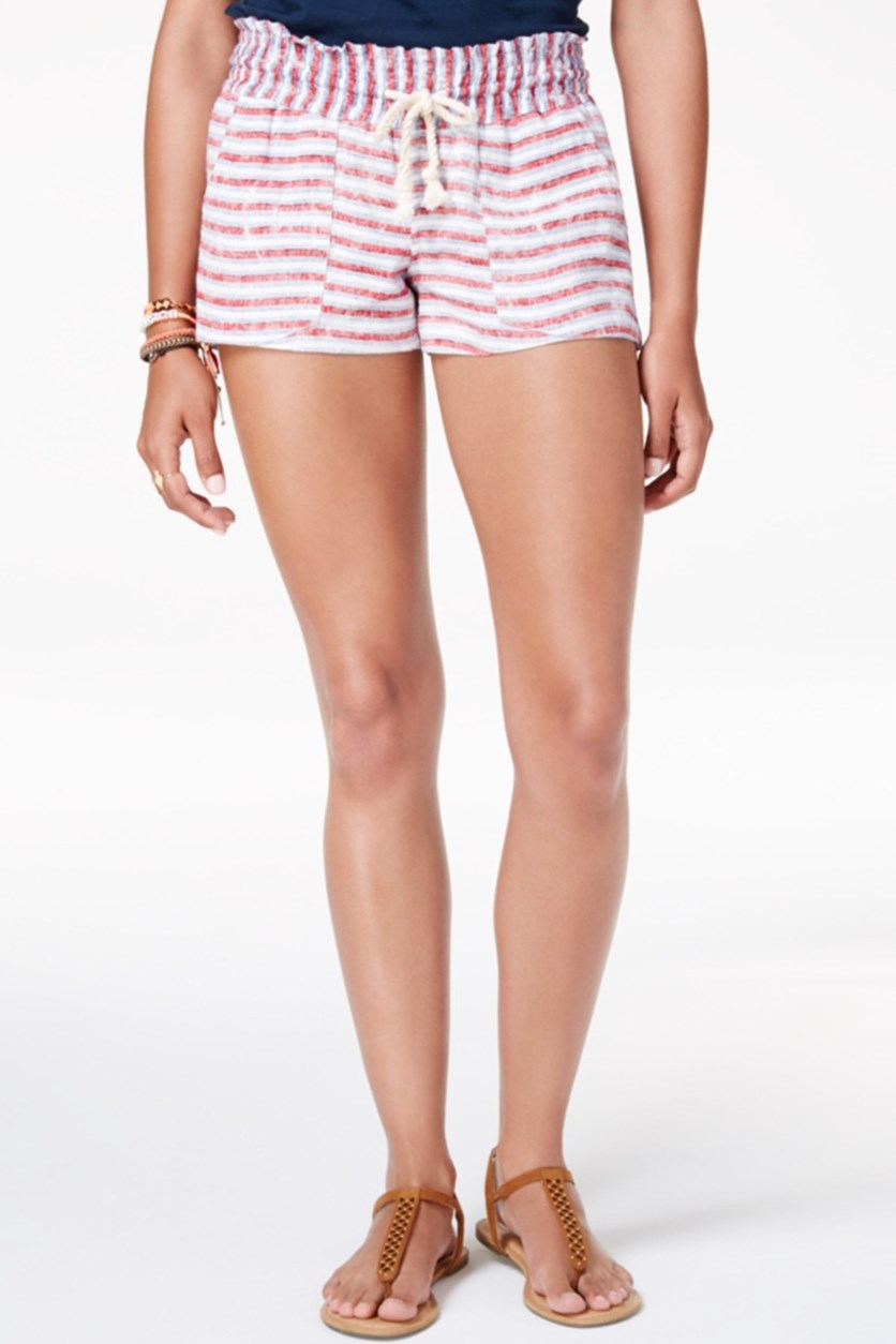 Juniors' Oceanside Flag Striped Shorts, Red/Blue