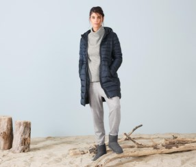 Hooded Quilted Coat, Blue