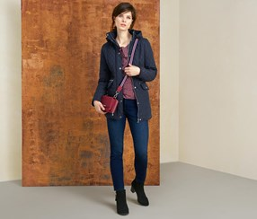 Women's Short Quilted Coat, Navy