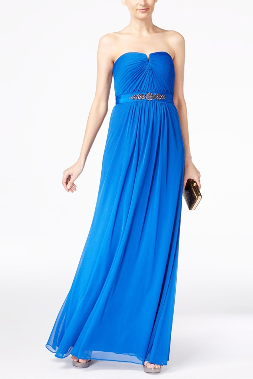 Adrianna Papell Women's Strapless Ruched Gown, Royal