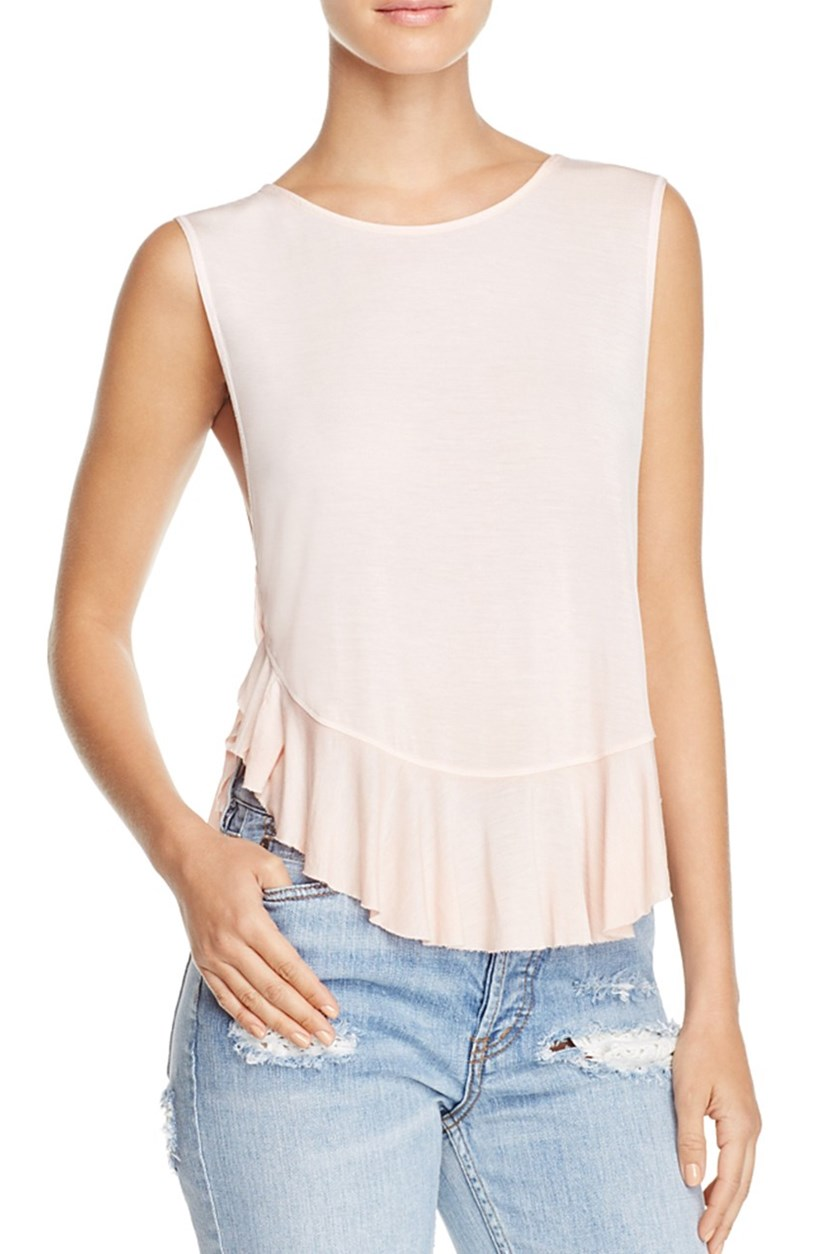 Uptown Ruffled Tank Top, Rose