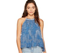 Free People Season in the Sun Printed Lace Top, Ocean Blue