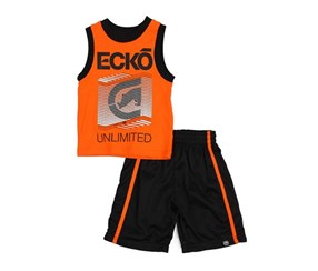 Toddlers 2 Piece Muscle Short and Top, Orange/Black