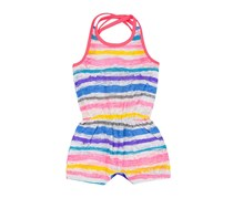 GB Baby Little Girls Colourful Striped Jumpsuit, Pink Combo