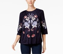 Charter Club Embroidered Faux-Suede Top, Intrepid Blue