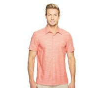 Perry Ellis Mens Textured Cotton Shirt, Spiced Coral