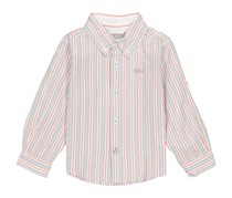 Boboli Long Sleeves Striped Shirt, Grey/White Combo