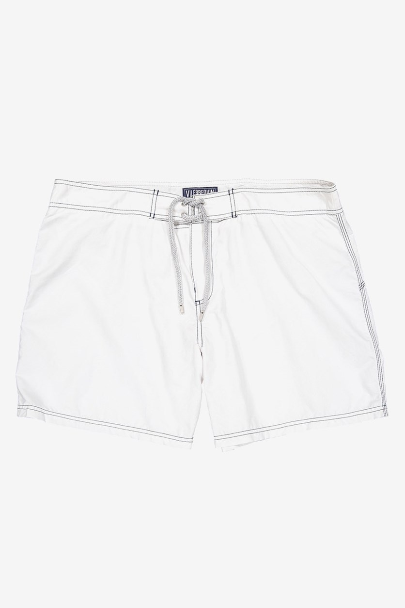 Men's Drawstring Swim Shorts, White