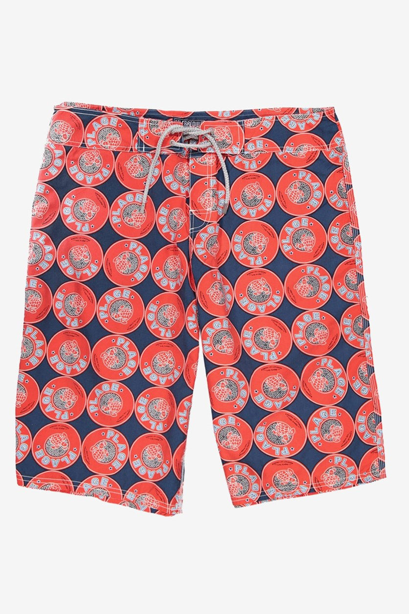 Men's Printed Shorts, Blue Marine