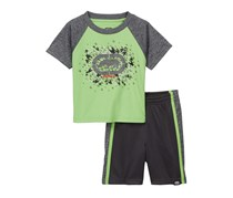 Kids Boys Rhino Tee & Shorts 2-Piece Set, Charcoal/Lime