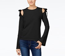 Freshman Juniors' Bow-Detail Cold-Shoulder Top, Black