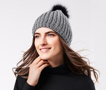 Women's Knitted Hat With Bobble, Gray