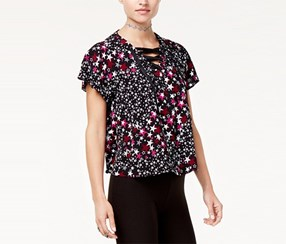 6c730bdcbea15 The Edit By Seventeen Juniors  Star-Print Lace-Up Top
