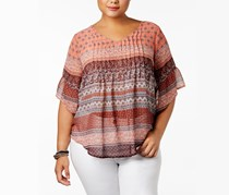 Style & Co Plus Size Mixed-Print Pintucked Blouse, Saloon Stripe