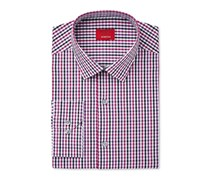 Alfani Men's Slim-Fit Gingham Stretch Dress Shirt, Berry Combo