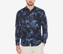 Cubavera Men's Palm-Print Shirt, Navy Blazer