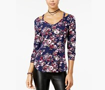 Juniors Printed Cutout-Neck Top, Blue Floral