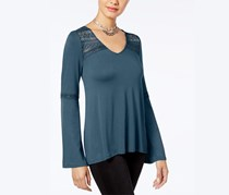 Hippie Rose Juniors' Lace-Trim Bell-Sleeve Top, Deep Teal