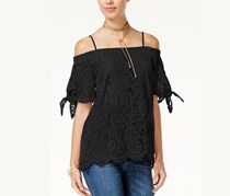 Miss Chievous Juniors' Off-The-Shoulder Lace Top, Black