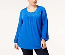 Ny Collection Plus Size Grommet-Trim Top, Blue