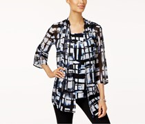 JM Collection Printed Layered-Look Top, Painter Plaid