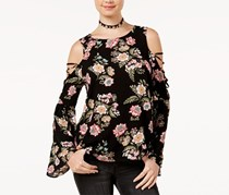 Juniors Printed Bell-Sleeve Top, Black Floral