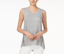 Rachel Roy Space-Dyed High-Low Top, Heather Grey