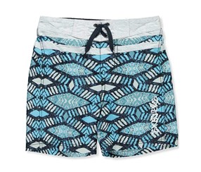 Skechers Kid's Boys Swim Trunks, Grey/Navy/Turq